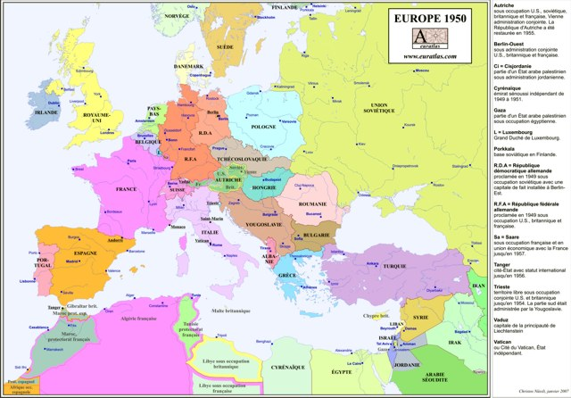 Maps Political Map Of Europe - Us political map 1950