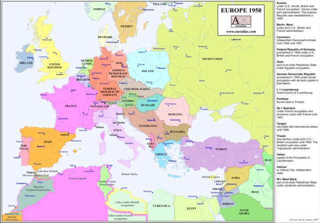 Description, Europe map in 1950, the countries are shown without their