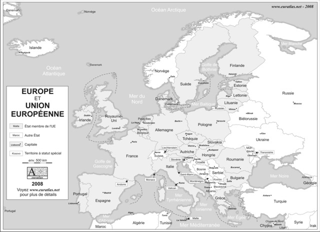 Description, Printable labeled map of Europe with the borders and names of