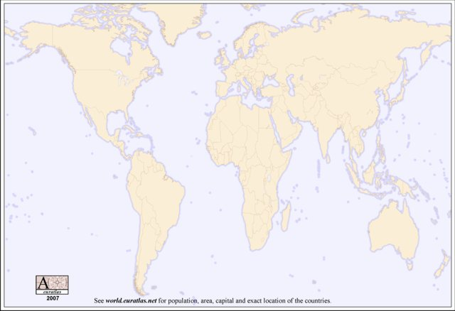 world map blank with countries. lank color world map with