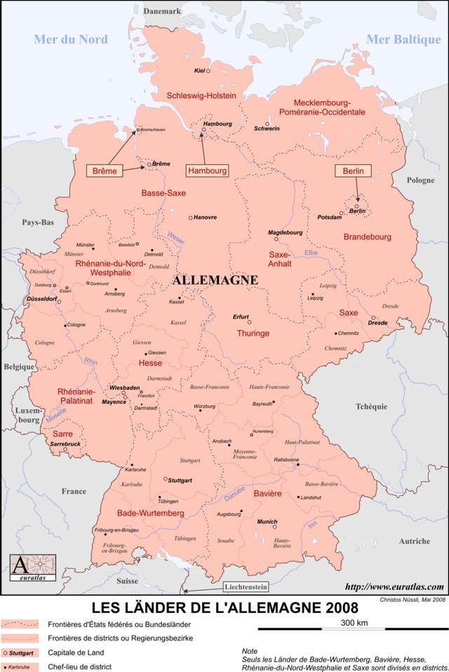 Click to download the Länder d'Allemagne, Labeled, Color