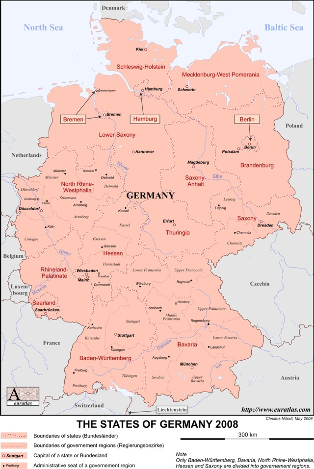 Click to download the States of Germany, Labeled, Color