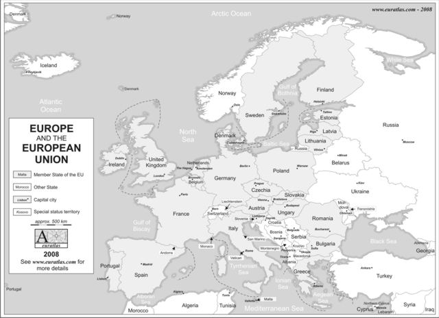 Click to download the Europe and E.U. 2008 Labeled Grey