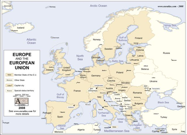 Click to download the Europe and E.U. 2008 Labeled Color