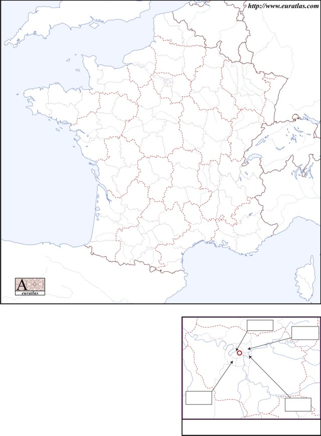 Click to download the France Départements & Régions, Blank, Color
