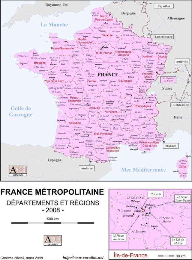 Click to download the Départements de France, Labeled, Color