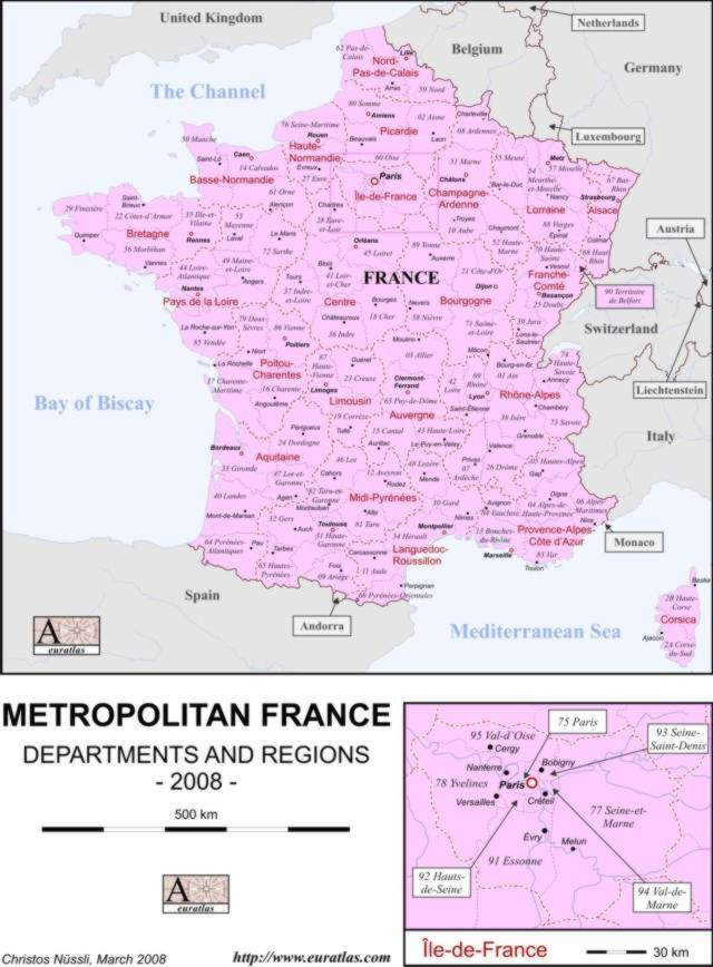 Click to download the France Map, Labeled, Color