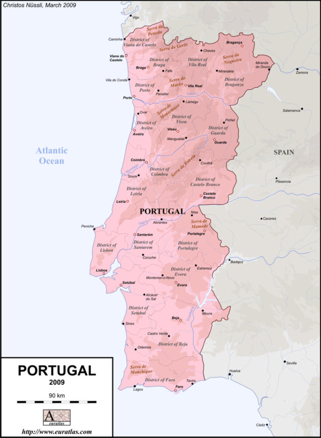 EuratlasInfo Members Area Portugal EN Lab Col - Portugal map districts