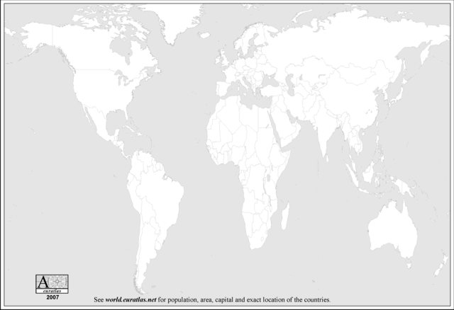 Click to download the World Map 2007, Blank, Grey
